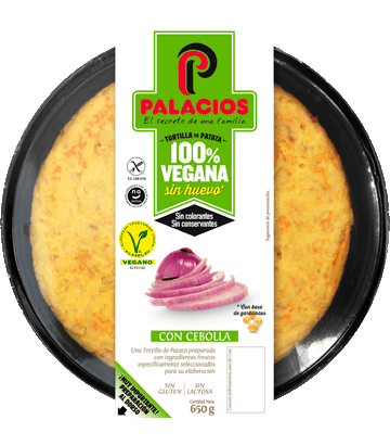 Tortilla vegana Palacios con cebolla 650 gr.