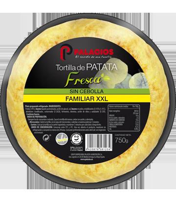 Tortilla de patata fresca sin cebolla formato familiar XXL